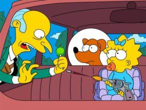 Maggie Simpson shoots Mr. Burns